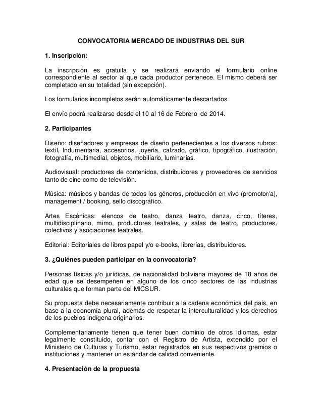 CONVOCATORIA MERCADO DE INDUSTRIAS DEL SUR 1. Inscripción: La inscripción es gratuita y se realizará enviando el formulari...