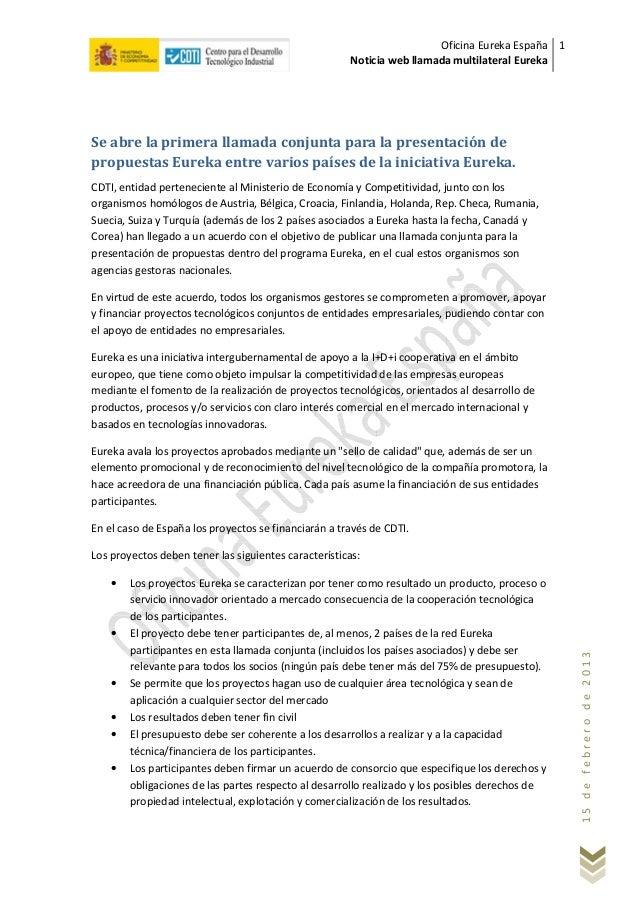 Oficina Eureka España 1                                                      Noticia web llamada multilateral EurekaSe abr...
