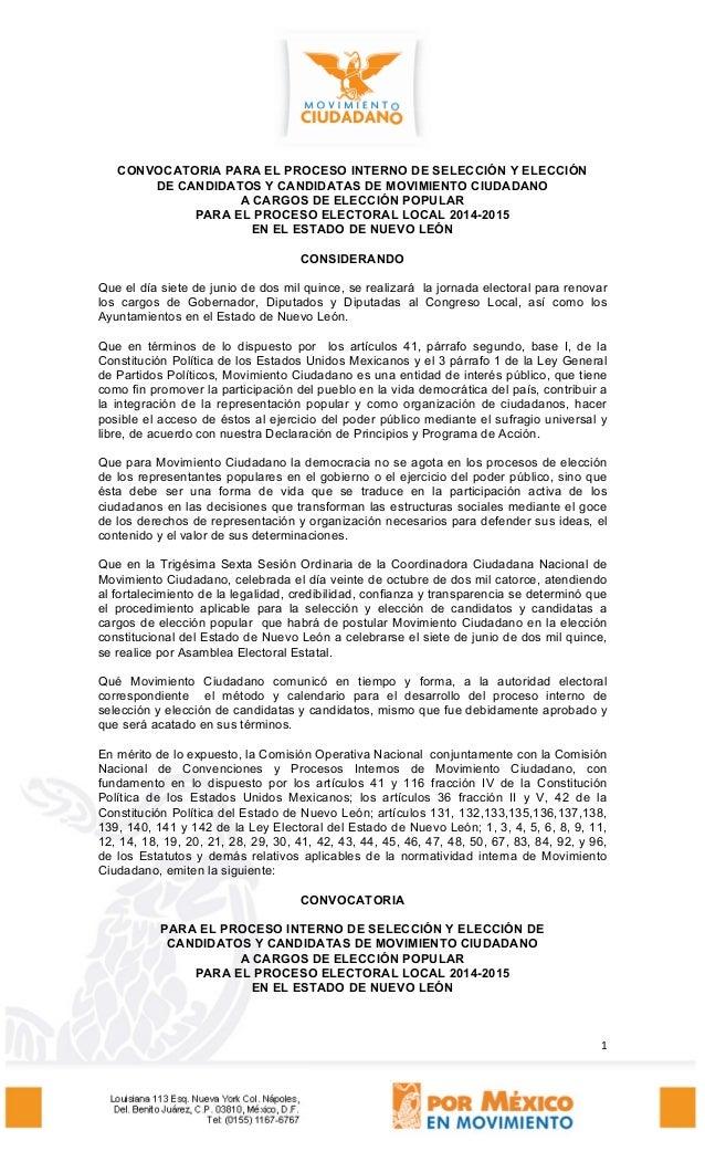 1 CONVOCATORIA PARA EL PROCESO INTERNO DE SELECCIÓN Y ELECCIÓN DE CANDIDATOS Y CANDIDATAS DE MOVIMIENTO CIUDADANO A CARGOS...