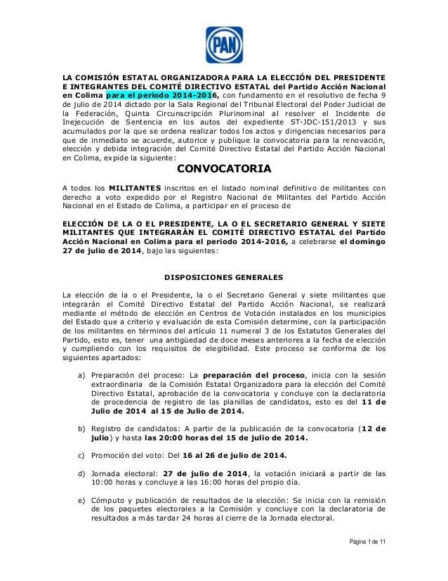 Página 1 de 11 LA COMISIÓN ESTATAL ORGANIZADORA PARA LA ELECCIÓN DEL PRESIDENTE E INTEGRANTES DEL COMITÉ DIRECTIVO ESTATAL...