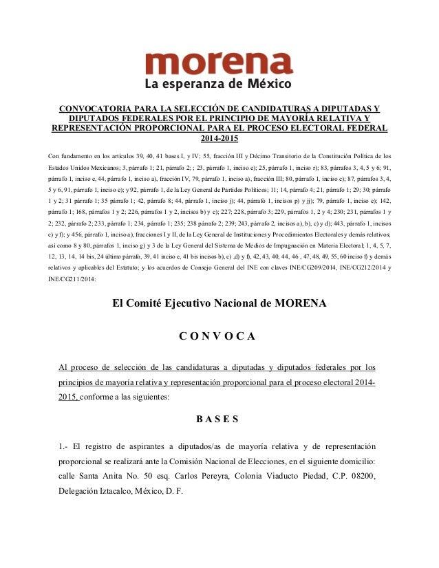 CONVOCATORIA PARA LA SELECCIÓN DE CANDIDATURAS A DIPUTADAS Y DIPUTADOS FEDERALES POR EL PRINCIPIO DE MAYORÍA RELATIVA Y RE...