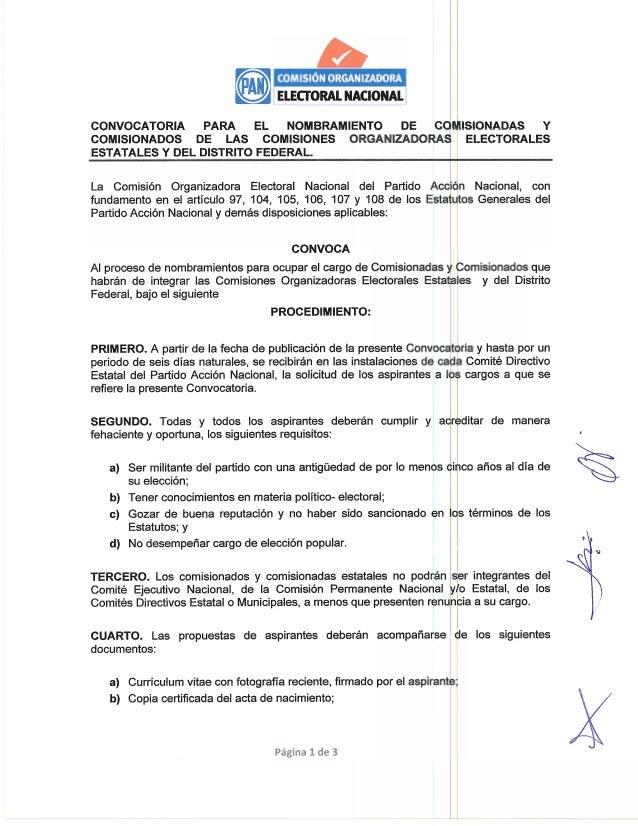,3,  y ELECTORAL NACIONAL]  CONVOCATORIA PARA EL NOMBRAMIENTO DE COMISIONADAS Y COMISIONADOS DE LAS COMISIONES ORGANIZADOR...