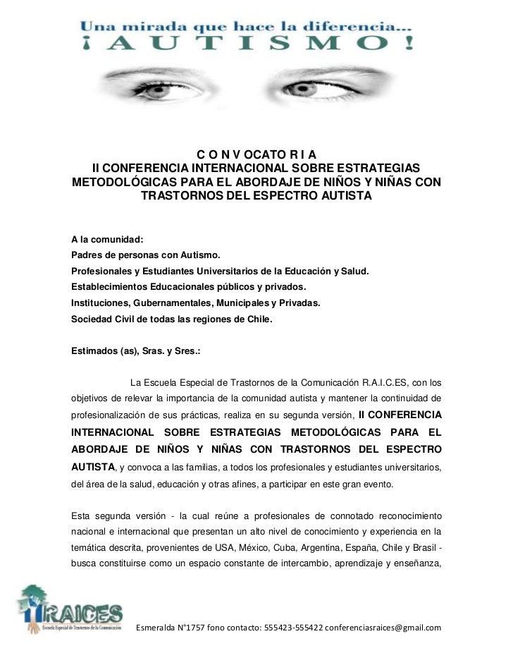 C O N V OCATO R I A  II CONFERENCIA INTERNACIONAL SOBRE ESTRATEGIASMETODOLÓGICAS PARA EL ABORDAJE DE NIÑOS Y NIÑAS CON    ...