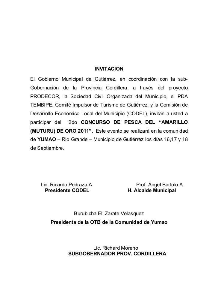 INVITACIONEl Gobierno Municipal de Gutiérrez, en coordinación con la sub-Gobernación de la Provincia Cordillera, a través ...