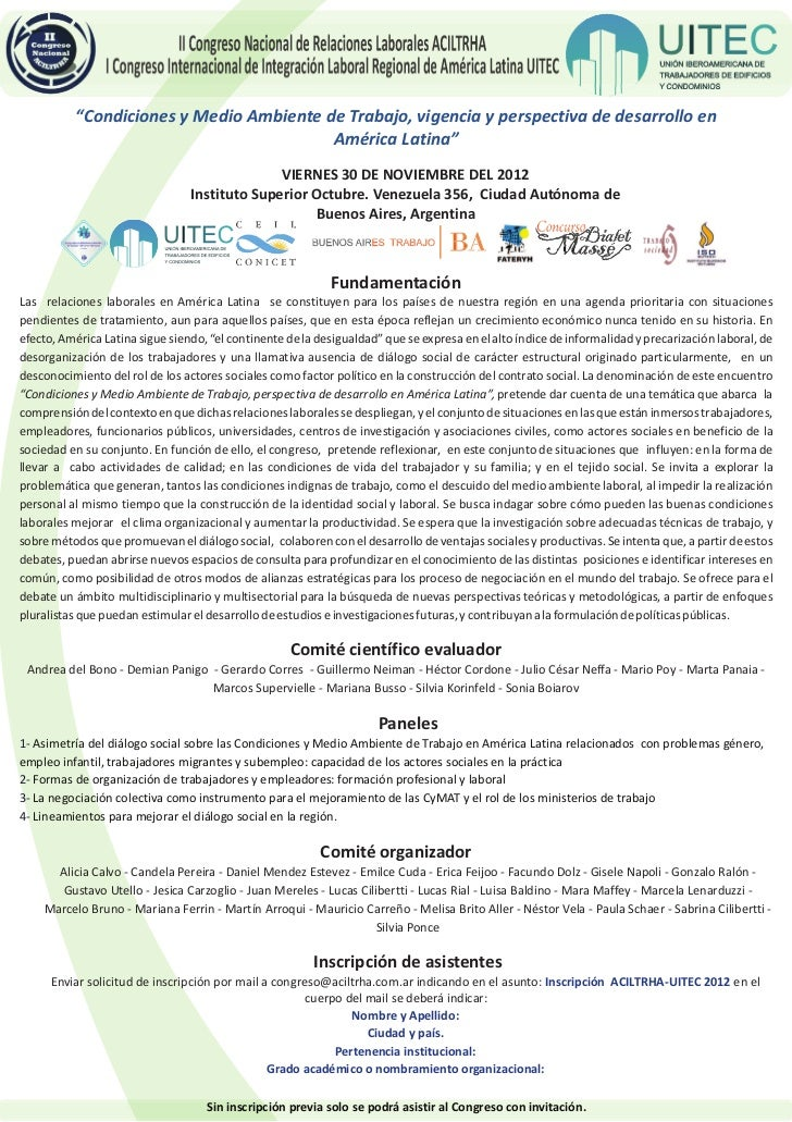 II Congreso Nacional de Relaciones Laborales ACILTRHA                I Congreso Internacional de Integración Laboral Regio...