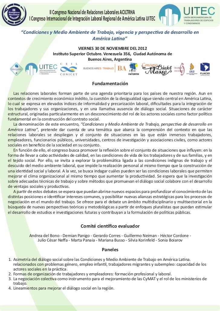 II Congreso Nacional de Relaciones Laborales ACILTRHA            I Congreso Internacional de Integración Laboral Regional ...