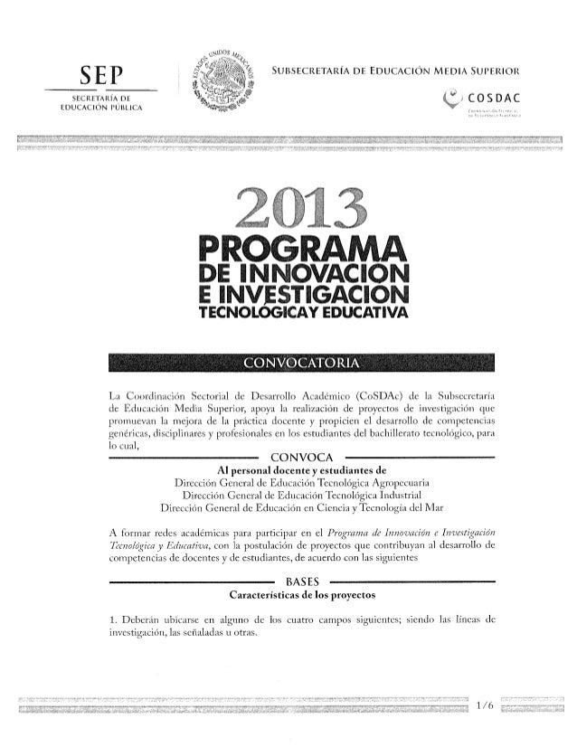 Convocatoria proyectos 2013