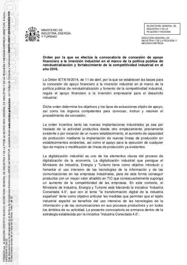 MINISTERIO DE INDUSTRIA, ENERGÍA Y TURISMO Orden por la que se efectúa la convocatoria de concesión de apoyo financiero a...