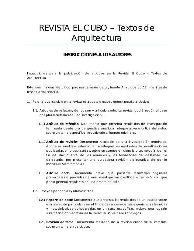REVISTA EL CUBO – Textos de Arquitectura INSTRUCCIONES A LOS AUTORES Instrucciones para la publicación de artículos en la ...