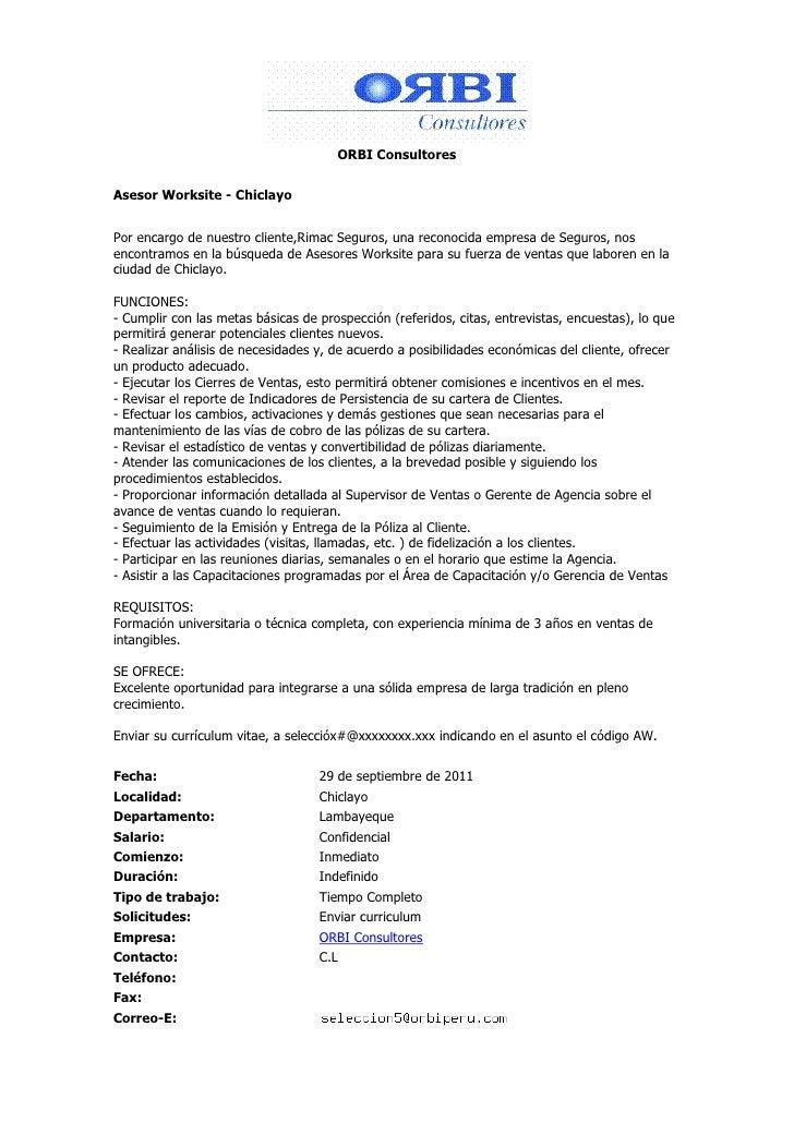 ORBI ConsultoresAsesor Worksite - ChiclayoPor encargo de nuestro cliente,Rimac Seguros, una reconocida empresa de Seguro...