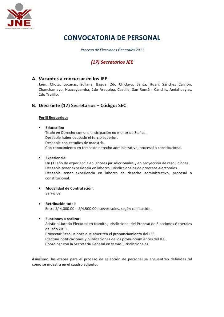 CONVOCATORIA DE PERSONAL                            Proceso de Elecciones Generales 2011                                  ...