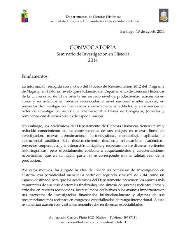 Departamento de Ciencias Históricas Facultad de Filosofía y Humanidades – Universidad de Chile Av. Ignacio Carrera Pinto 1...