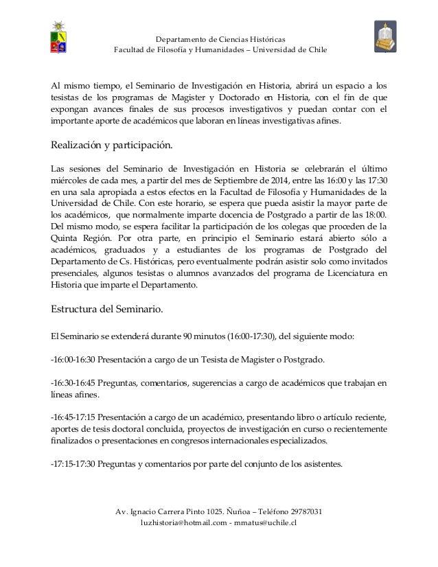 Convocatoria seminario investigación historia. U. de Chile Slide 2