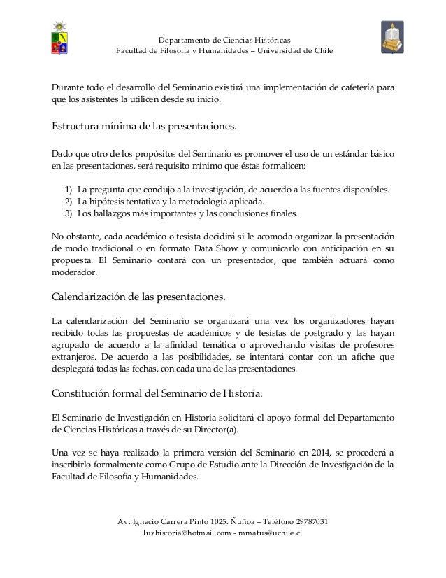 Convocatoria seminario investigación historia. U. de Chile Slide 3