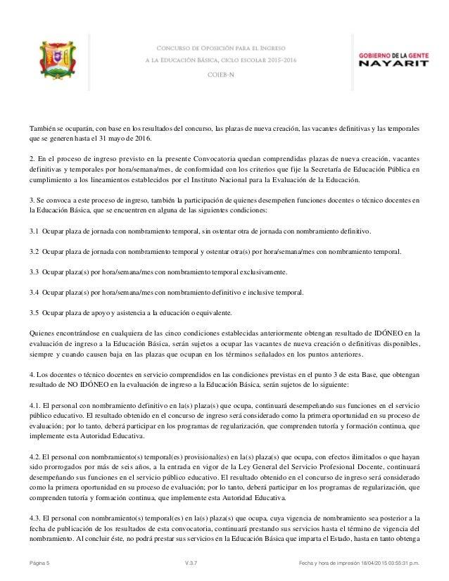 Convocatoria servicio profesional docente escuelas for Convocatoria plazas docentes