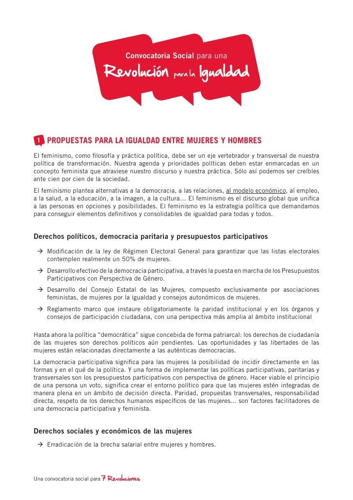 Convocatoria Social para una                            Revo lución            para la   Igua ldad 1 PROPUESTAS PARA LA IG...