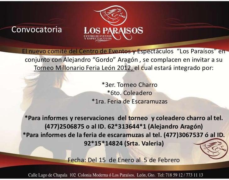"""Convocatoria  El nuevo comité del Centro de Eventos y Espectáculos """"Los Paraísos"""" en   conjunto con Alejandro """"Gordo"""" Arag..."""