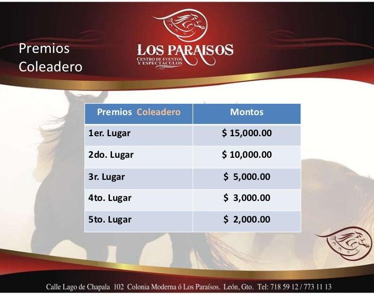 PremiosColeadero              Premios Coleadero    Montos            1er. Lugar            $ 15,000.00            2do. Lug...