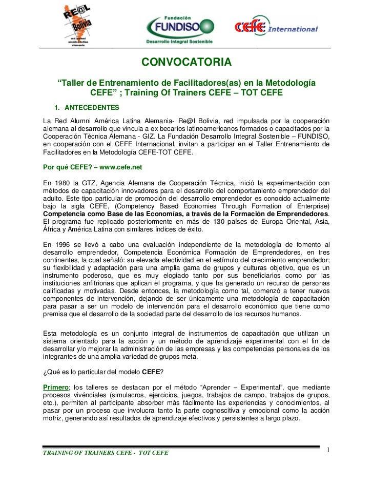"""CONVOCATORIA    """"Taller de Entrenamiento de Facilitadores(as) en la Metodología             CEFE"""" ; Training Of Trainers C..."""
