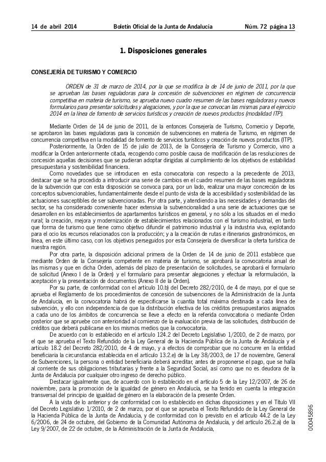 14 de abril 2014 Boletín Oficial de la Junta de Andalucía Núm. 72  página 13 1. Disposiciones generales Consejería de ...