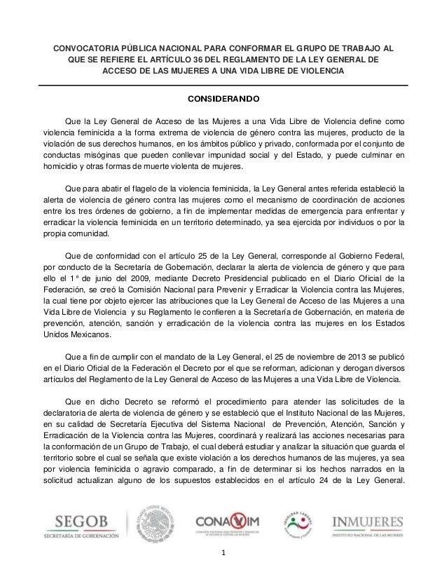 1 CONVOCATORIA PÚBLICA NACIONAL PARA CONFORMAR EL GRUPO DE TRABAJO AL QUE SE REFIERE EL ARTÍCULO 36 DEL REGLAMENTO DE LA L...