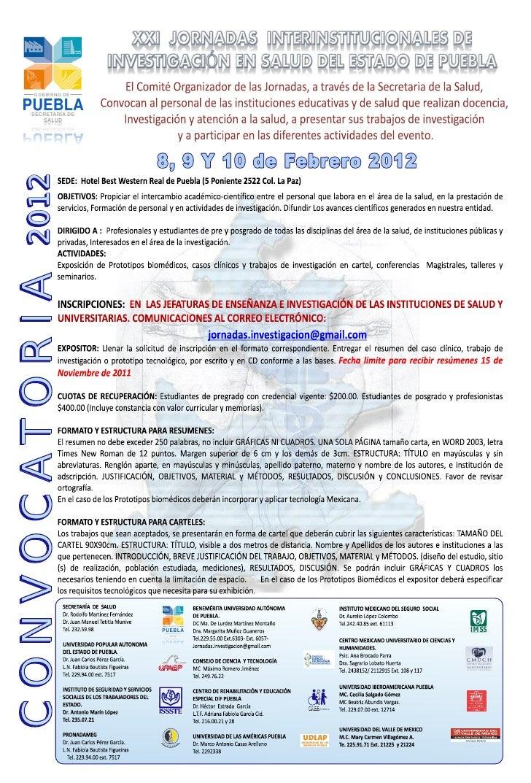 GOBIERNO DE PUEBLA     SECRETARÍA DE        SALUD         DULAS     ED AÍRATERCES ALBEUP   2012C O N VO C ATO R I A       ...