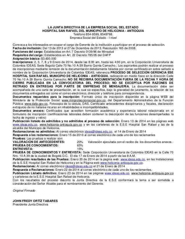 LA JUNTA DIRECTIVA DE LA EMPRESA SOCIAL DEL ESTADO HOSPITAL SAN RAFAEL DEL MUNICIPIO DE HELICONIA - ANTIOQUIA Teléfono 854...