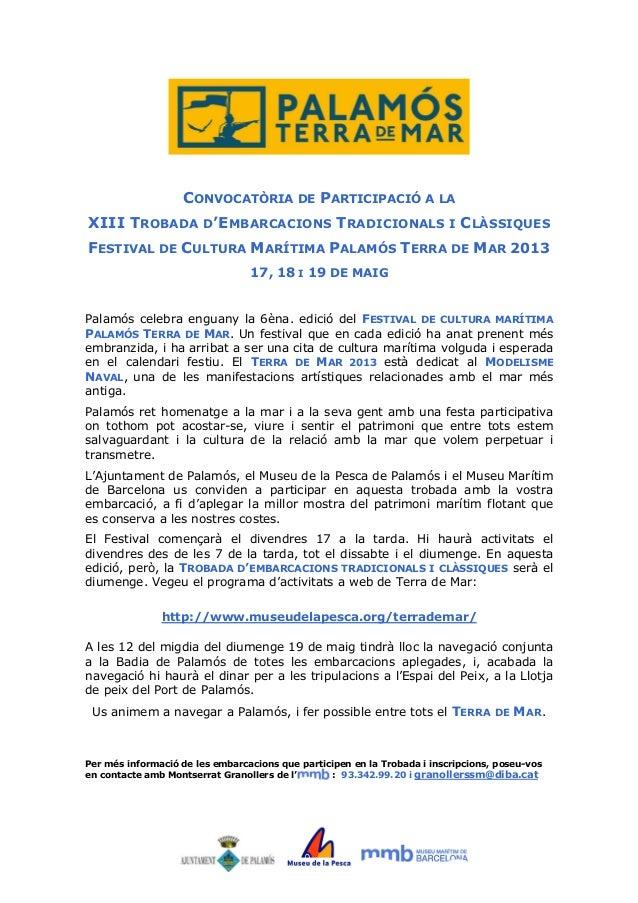 CONVOCATÒRIA DE PARTICIPACIÓ A LA XIII TROBADA D'EMBARCACIONS TRADICIONALS  I  CLÀSSIQUES  FESTIVAL DE CULTURA MARÍTIMA PA...