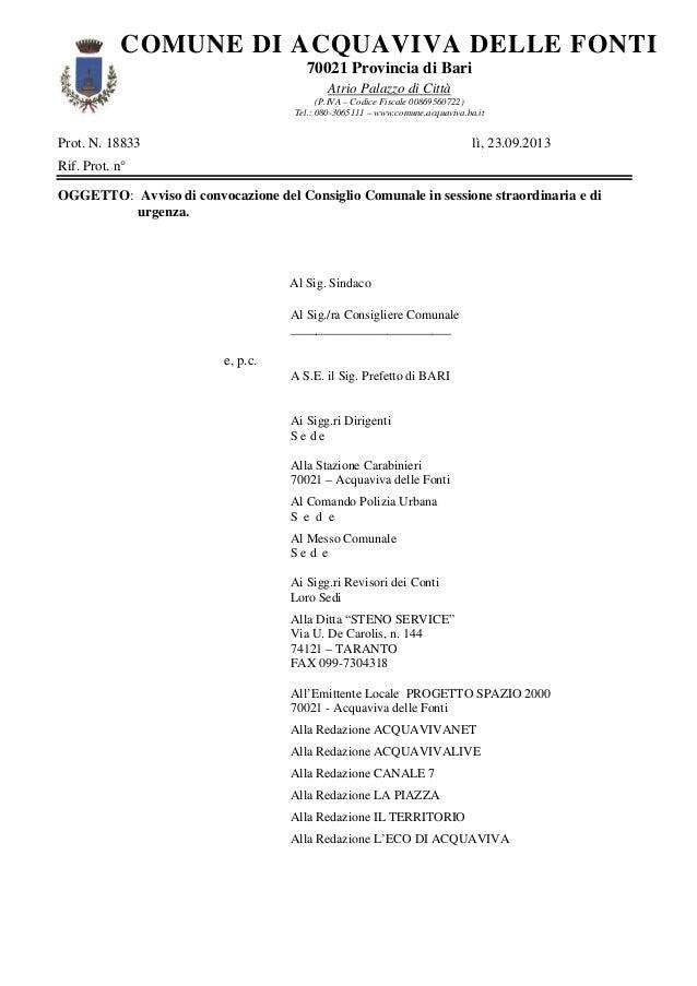 Prot. N. 18833 lì, 23.09.2013 Rif. Prot. n° OGGETTO: Avviso di convocazione del Consiglio Comunale in sessione straordinar...