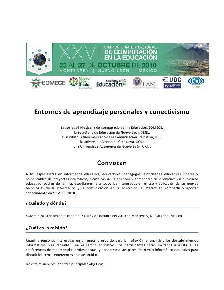 Entornos de aprendizaje personales y conectivismo                         La Sociedad Mexicana de Computación en la Educac...