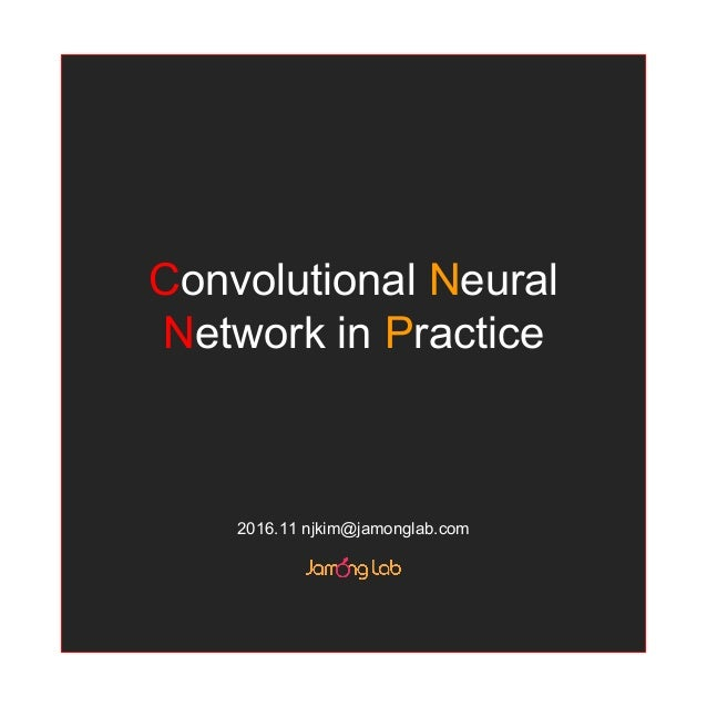 Convolutional Neural Network in Practice 2016.11 njkim@jamonglab.com
