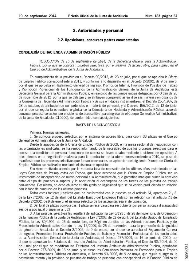 19 de septiembre 2014 Boletín Oficial de la Junta de Andalucía Núm. 183  página 67 2. Autoridades y personal 2.2. Opos...