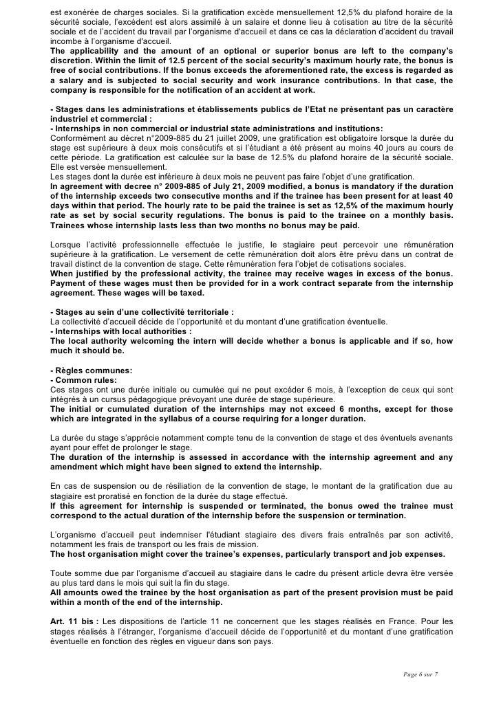 Conv stage anglais 2009 10 - 12 5 du plafond horaire de la securite sociale ...