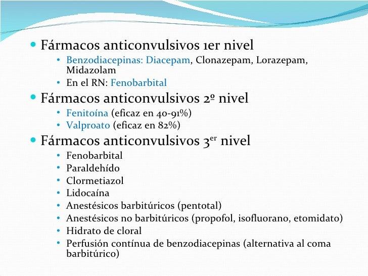 <ul><li>Fármacos anticonvulsivos 1er nivel </li></ul><ul><ul><ul><li>Benzodiacepinas: Diacepam , Clonazepam, Lorazepam, Mi...