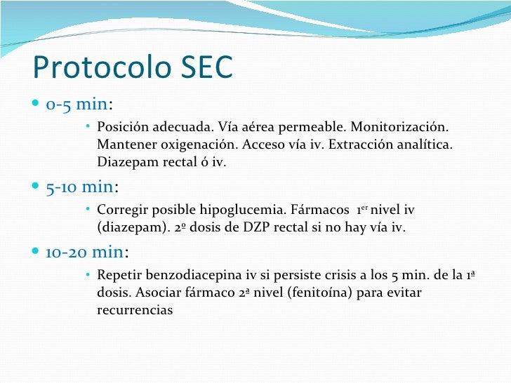 Protocolo SEC <ul><li>0-5 min :  </li></ul><ul><ul><ul><ul><li>Posición adecuada. Vía aérea permeable. Monitorización. Man...