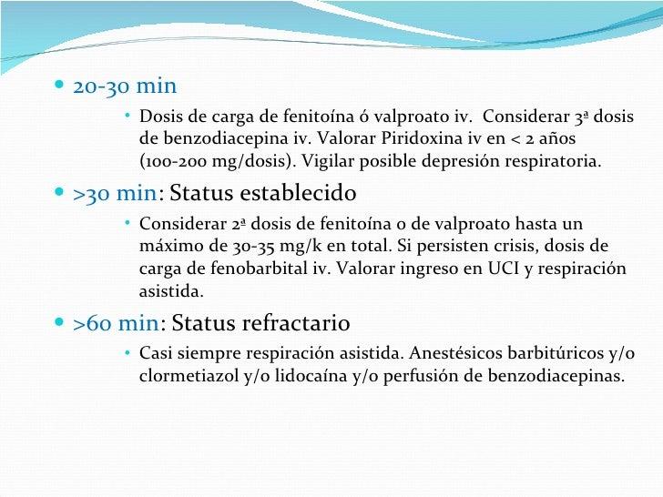 <ul><li>20-30 min </li></ul><ul><ul><ul><ul><li>Dosis de carga de fenitoína ó valproato iv.  Considerar 3ª dosis de benzod...