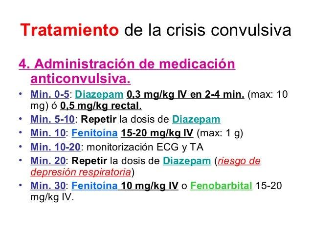 Tratamiento de la crisis convulsiva 4. Administración de medicación anticonvulsiva. • Min. 0-5: Diazepam 0,3 mg/kg IV en 2...