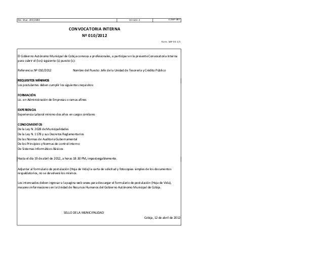 E/SAP-007 Referencia: Nº 010/2012 Nombre del Puesto: Jefe de la Unidad de Tesorería y Crédito Público REQUISITOS MÍNIMOS R...