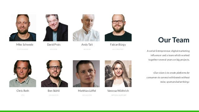 CO/FOUNDER Mike Schwede ADVISOR David Prais ADVISOR Andy Tait UX / CREATIVE Fabian Bürgy CTO Chris Roth DEVELOPER Ben Stäh...