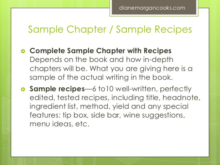 Writing And Selling A Winning Book Proposal Diane Morgan - Writing a cookbook template