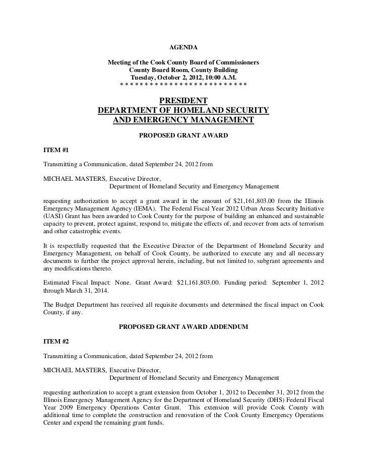 Cook County Board Agenda - October 3, 2012