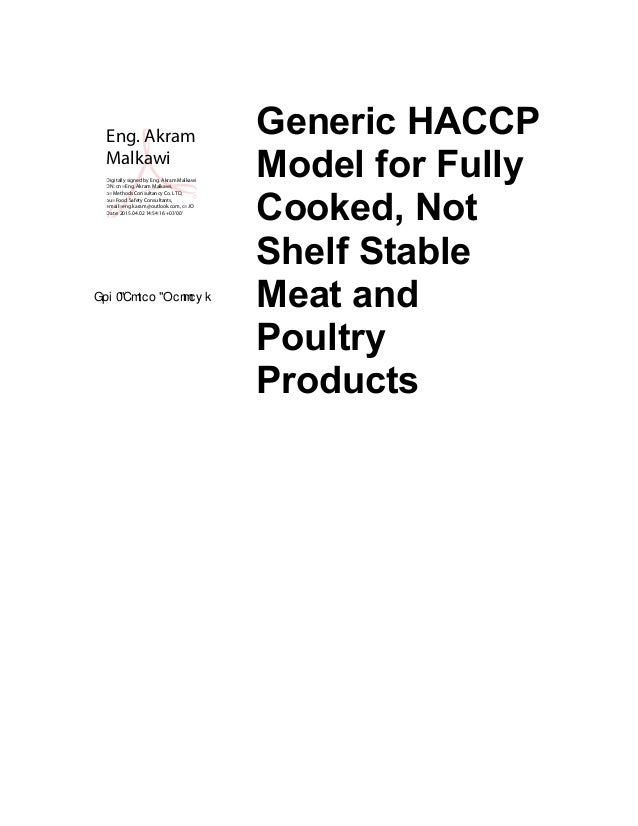 Haccp Plan Cooked Meat Not Shelf Stable