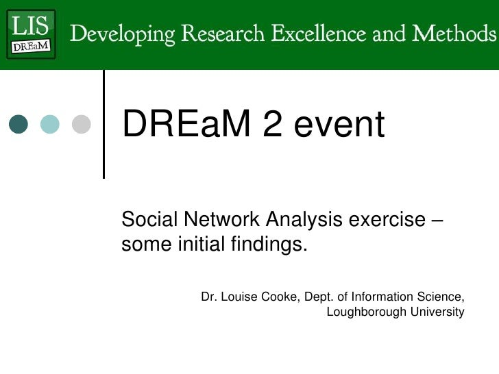 DREaM 2 eventSocial Network Analysis exercise –some initial findings.        Dr. Louise Cooke, Dept. of Information Scienc...