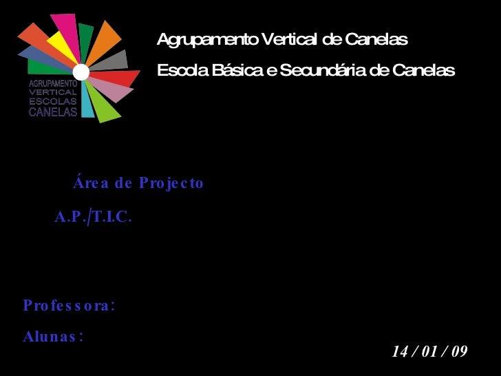 Agrupamento Vertical de Canelas Escola Básica e Secundária de Canelas 14 / 01 / 09 Área de Projecto  A.P./T.I.C. Professor...