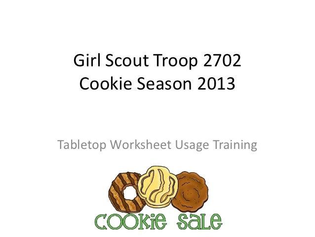 Girl Scout Troop 2702  Cookie Season 2013Tabletop Worksheet Usage Training