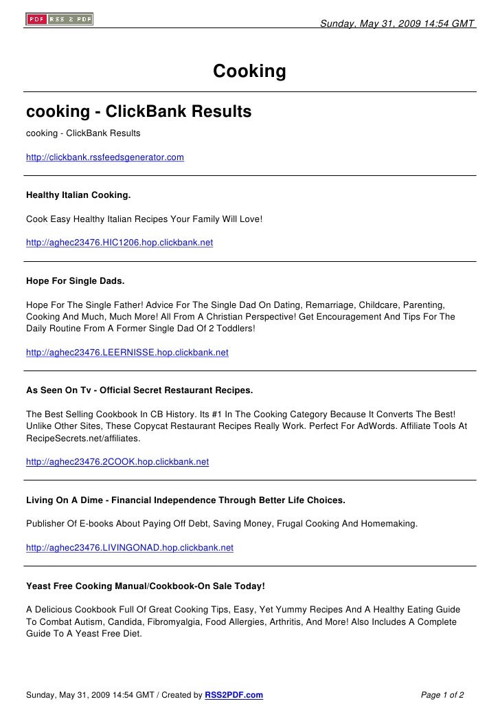 Sunday, May 31, 2009 14:54 GMT                                                 Cooking  cooking - ClickBank Results cookin...