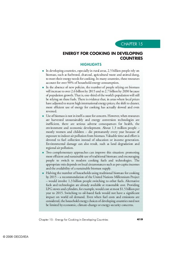 CHAPTER 15  ENERGY FOR COOKING IN DEVELOPING  COUNTRIES  HIGHLIGHTS   In developing countries, especially in rural areas, ...