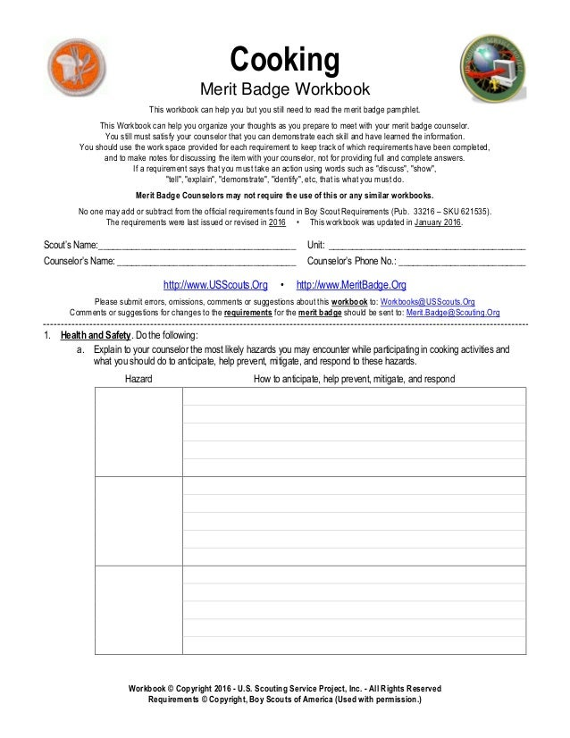 Cooking Merit Badge Worksheet 001 - Cooking Merit Badge Worksheet
