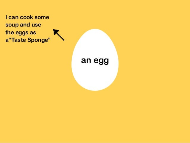 """I can cook some soup and use the eggs as a""""Taste Sponge"""" an egg"""