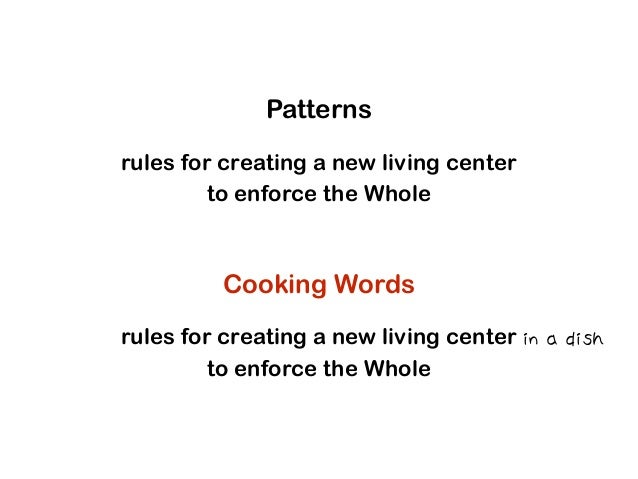 Patterns rules for creating a new living center to enforce the Whole Cooking Words rules for creating a new living center ...